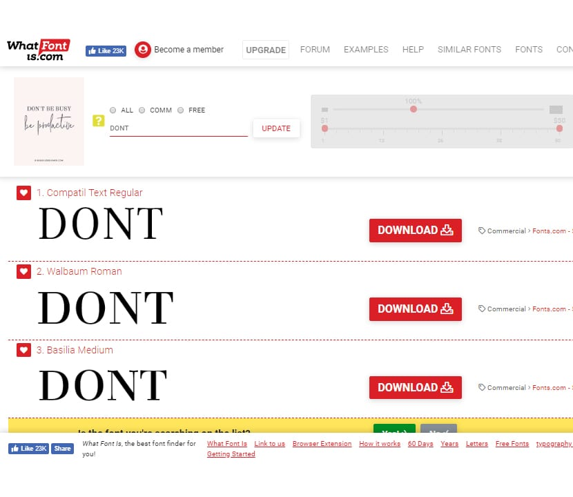What Font Is resultados de fuentes