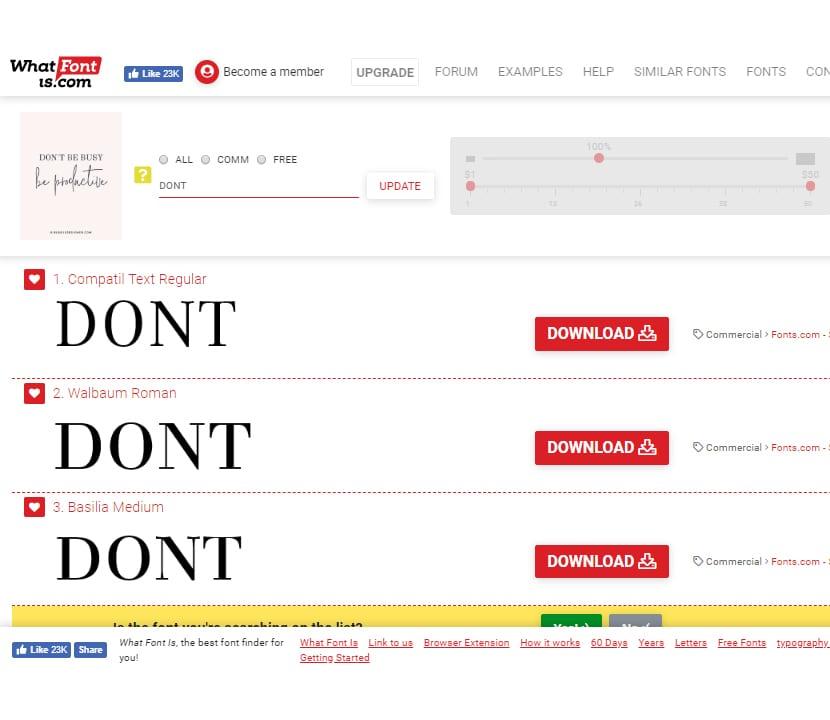 What Font Is resultados de fuentes