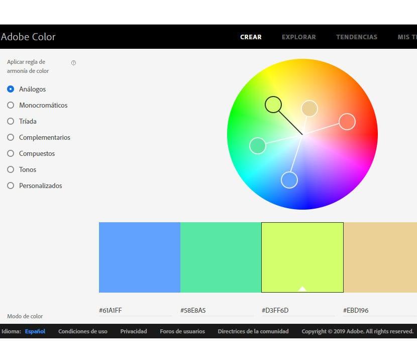 Adobe Color paleta de colores
