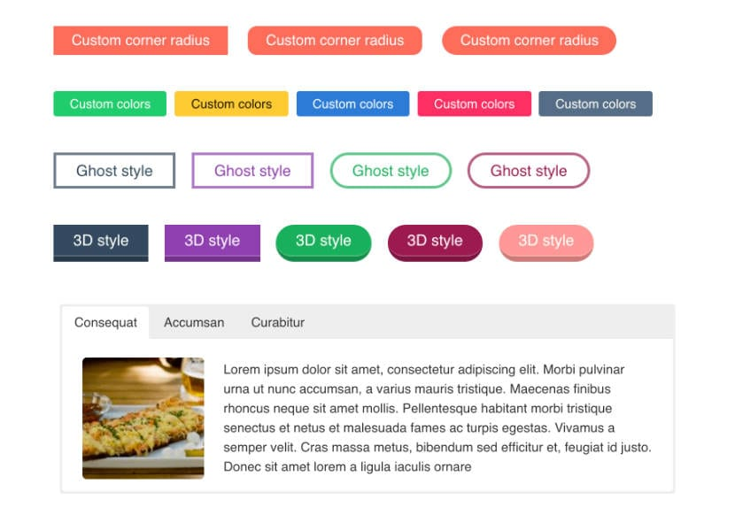 ejemplo de botones y tabs de shortcodes ultimate