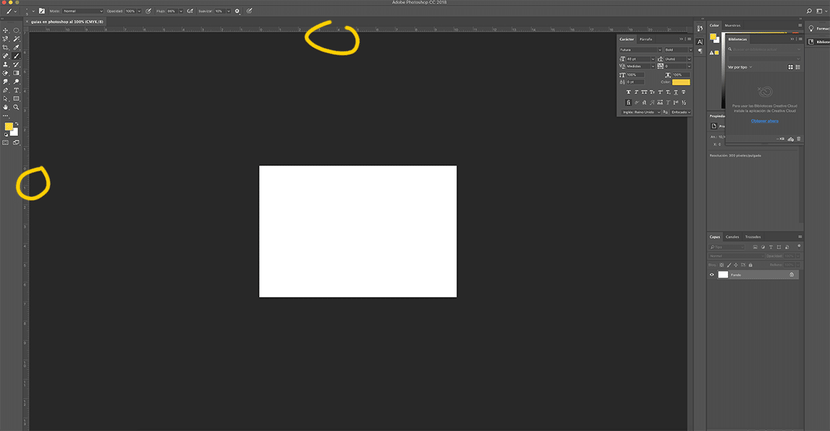 Arrastramos las guias en Photoshop de forma manual
