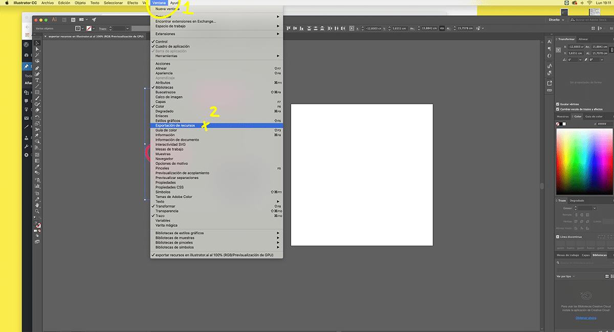 exporta archivos simultáneos en Illustrator