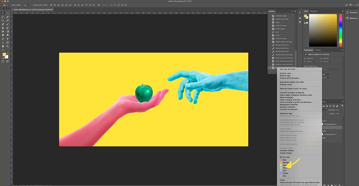marca las capas y grupos con colores