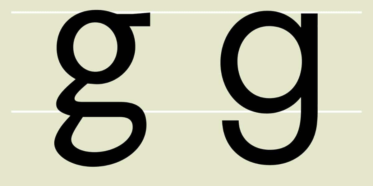 Dos tipos de letra g