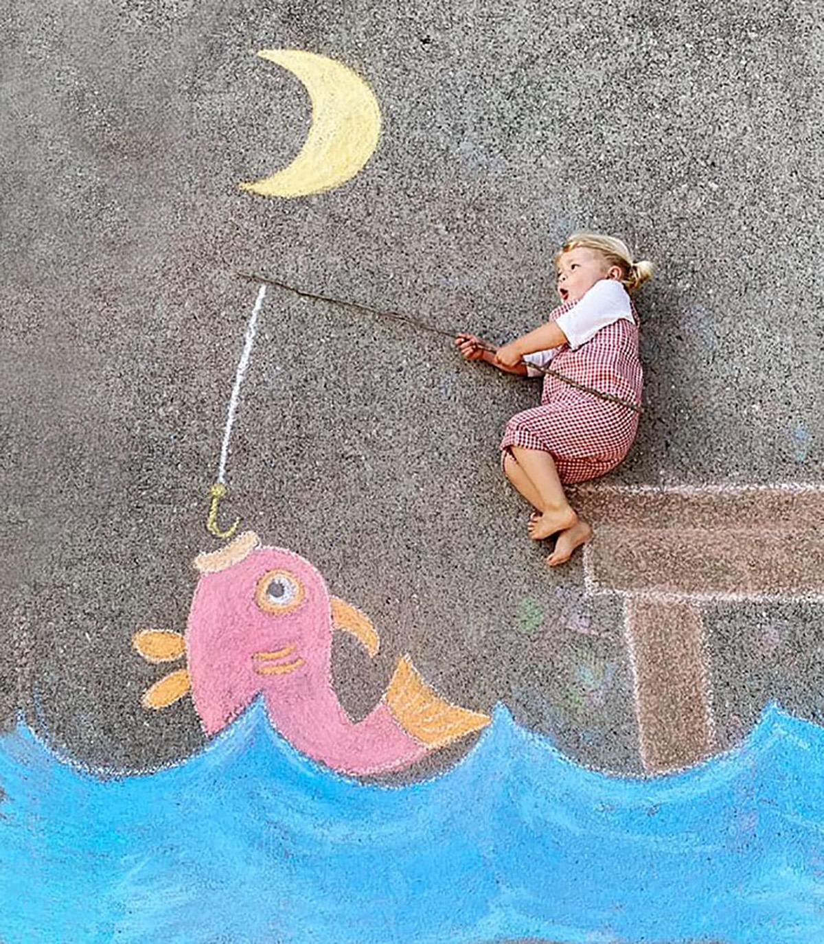 Familia tizas pescando