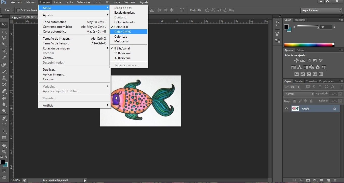 Modo de color CMYK en Photoshop