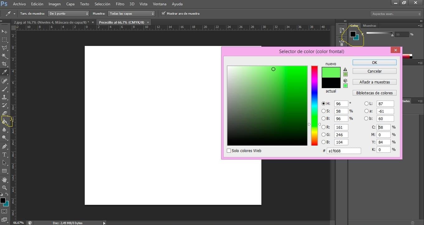 Selección del color del fondo en Photoshop
