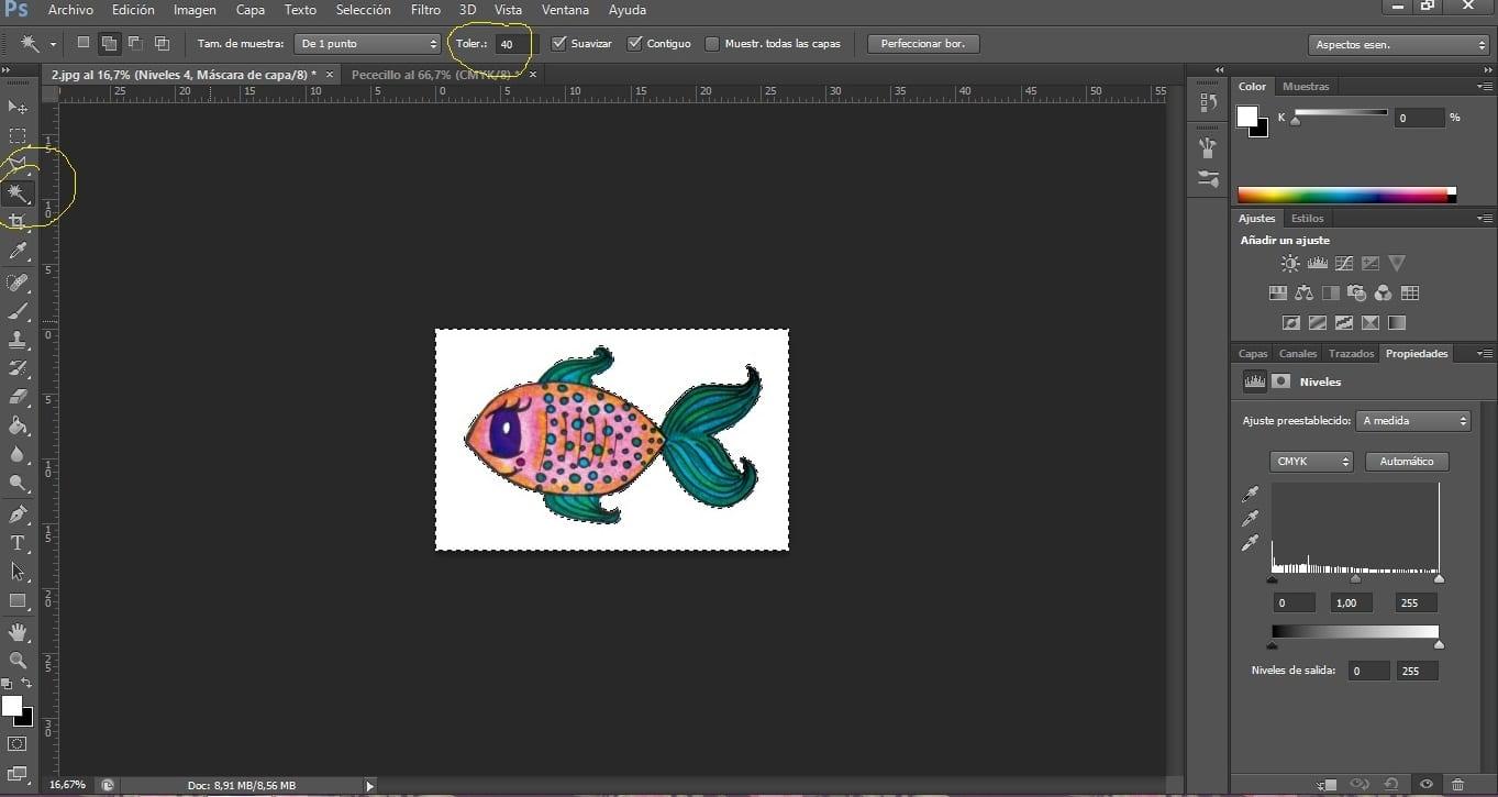 Uso de la varita mágica en Photoshop