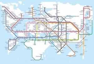 Mapa de líneas ferreas mundial estilo metro