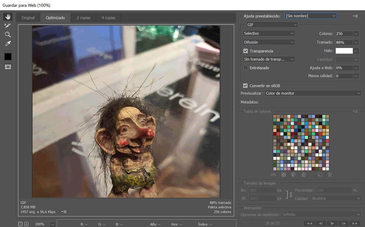 Guardar para Web formato GIF