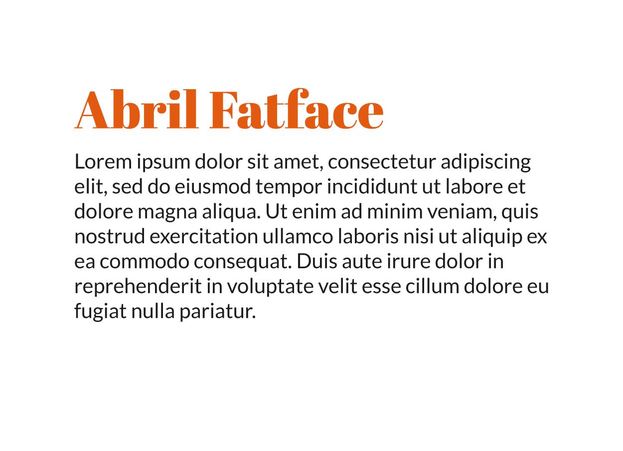 Combinación tipografía moderna Lato Regular con Abril Fatface