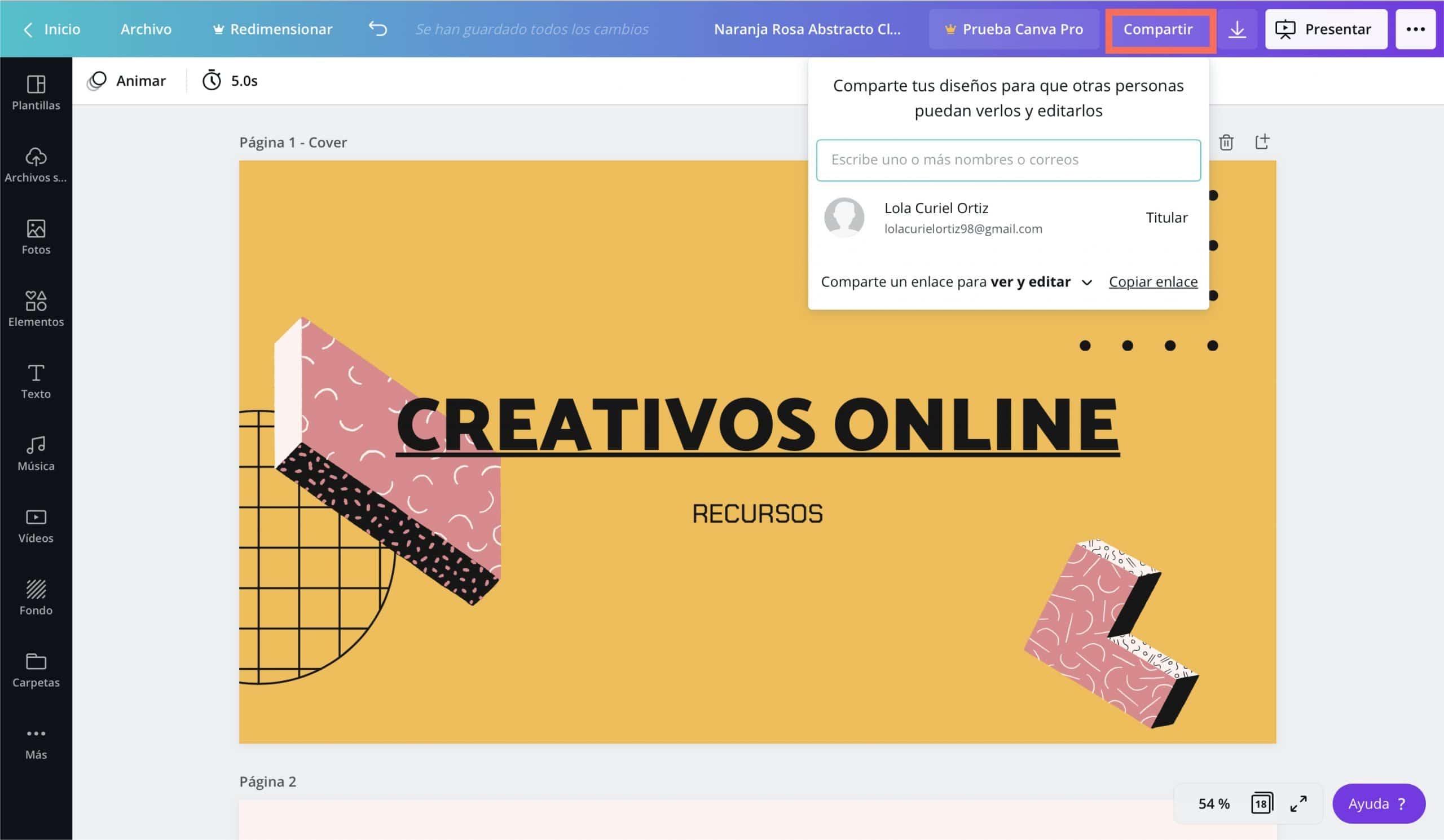 Compartir trabajo para que otros puedan editar en Canva