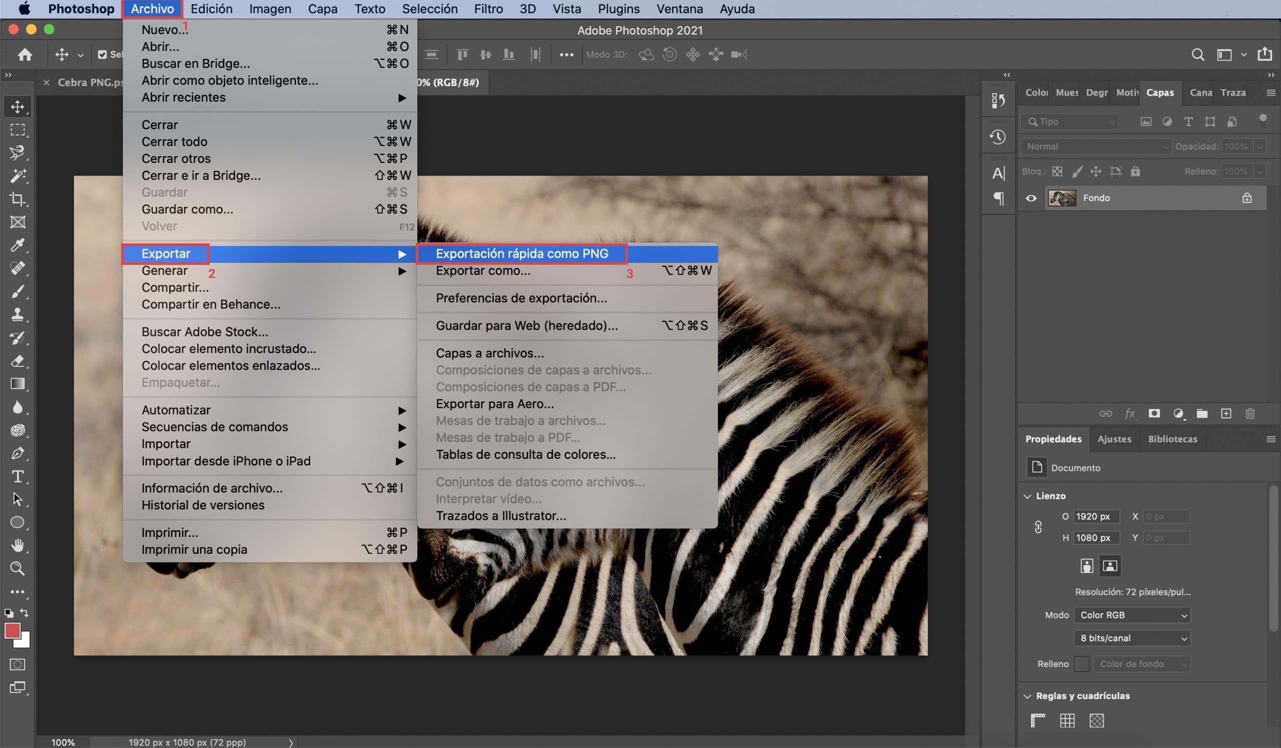 Cómo cambiar de JPEG a formato PNG guardando en Photoshop