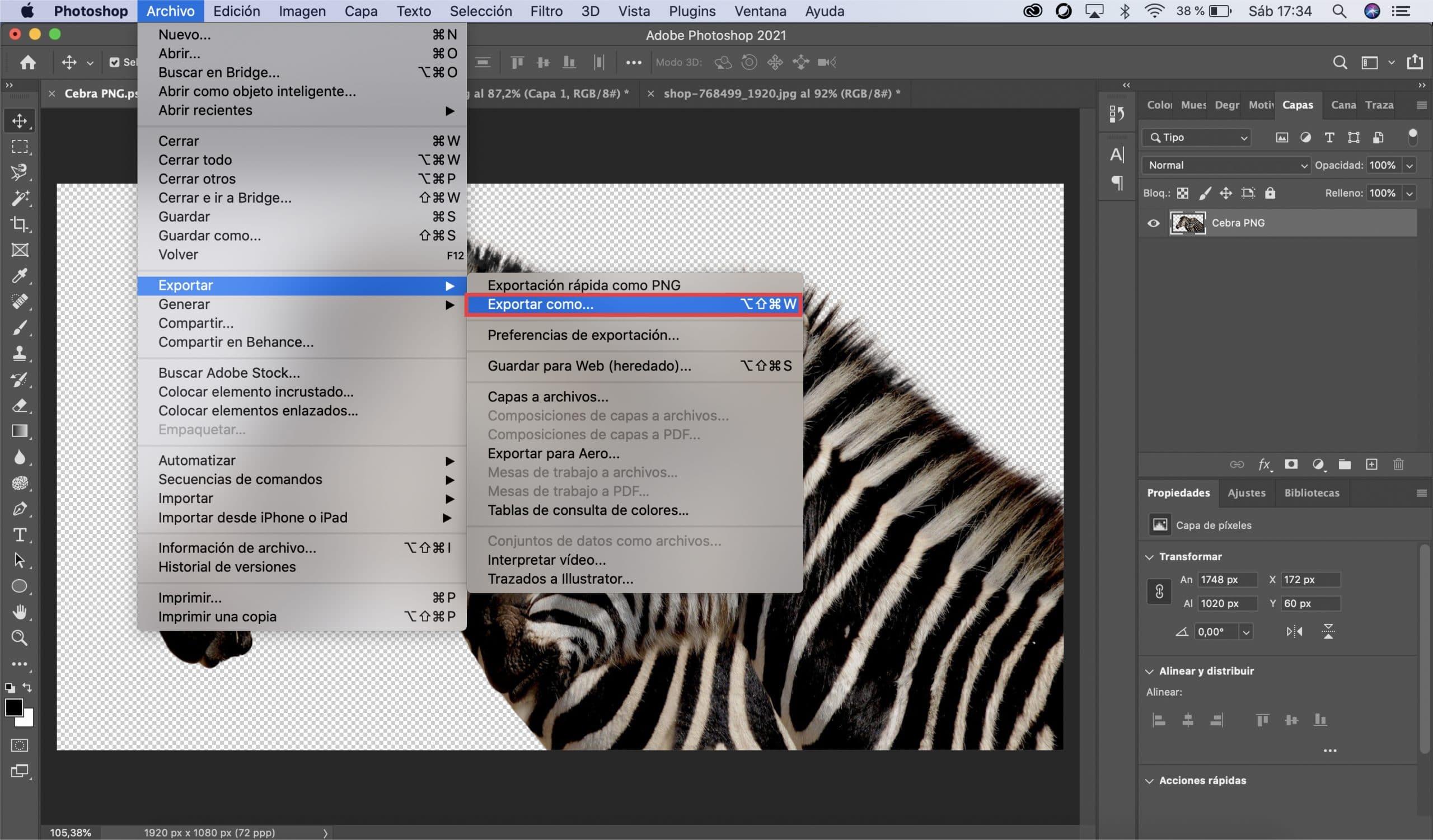 Cómo guardar tu PNG con Photoshop opción 2