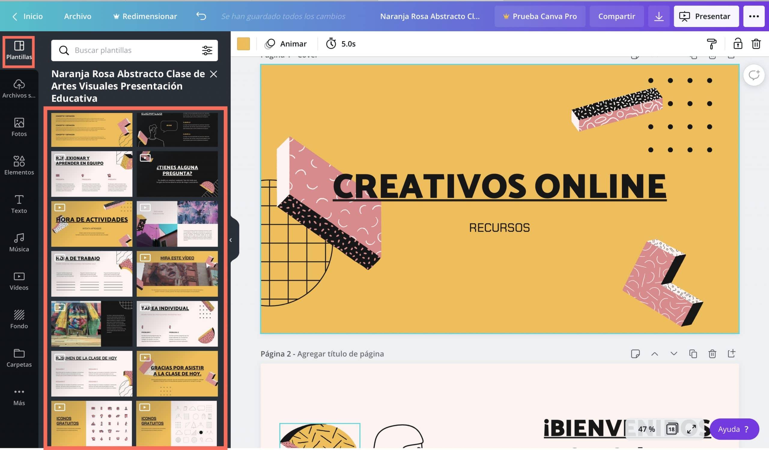 Elegir las diapositivas adecuadas para el contenido en Canva