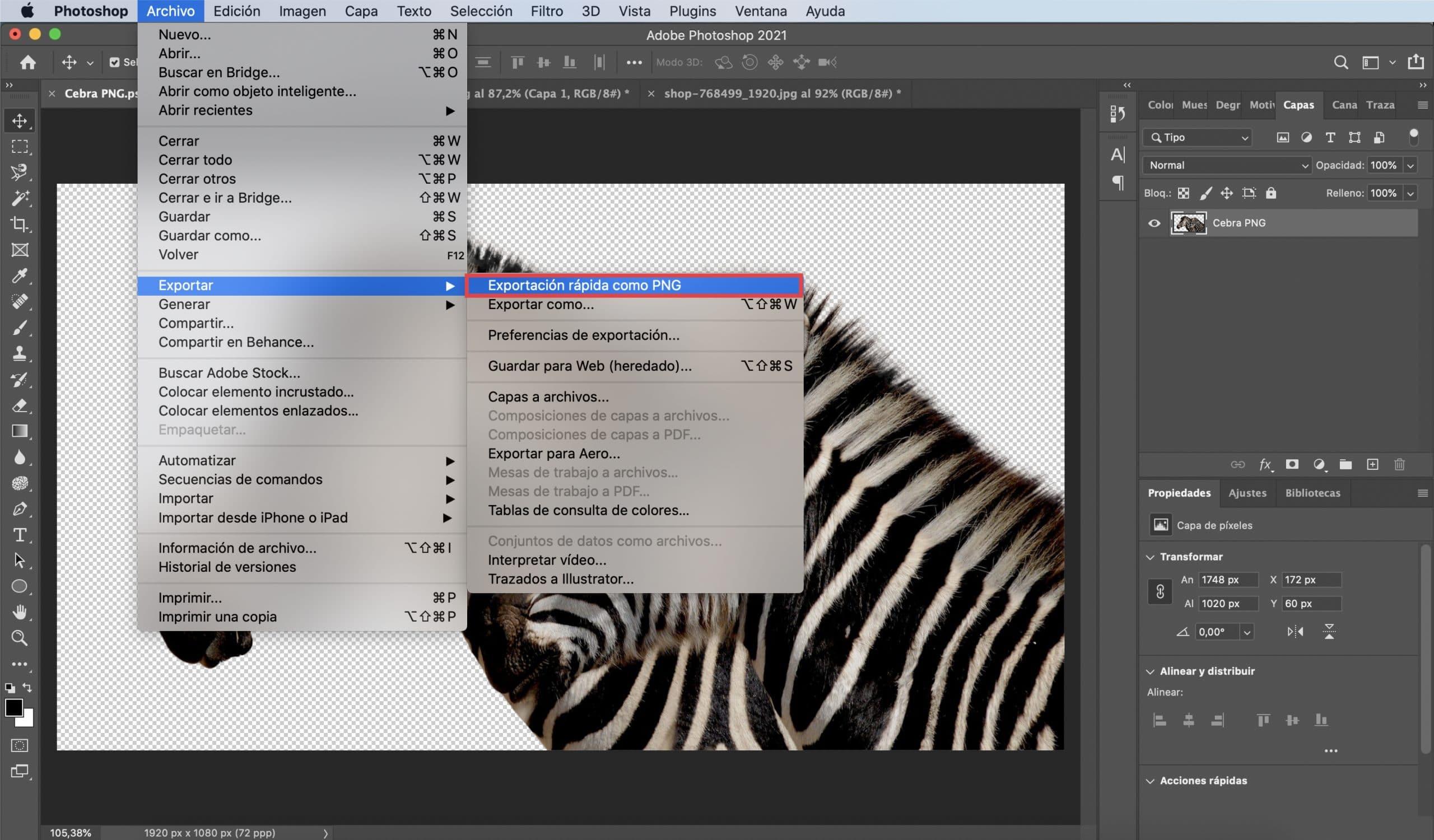 Cómo guardar tu PNG con Photoshop opción uno