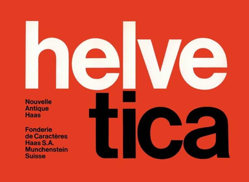 Tipografía moderna Helvetica