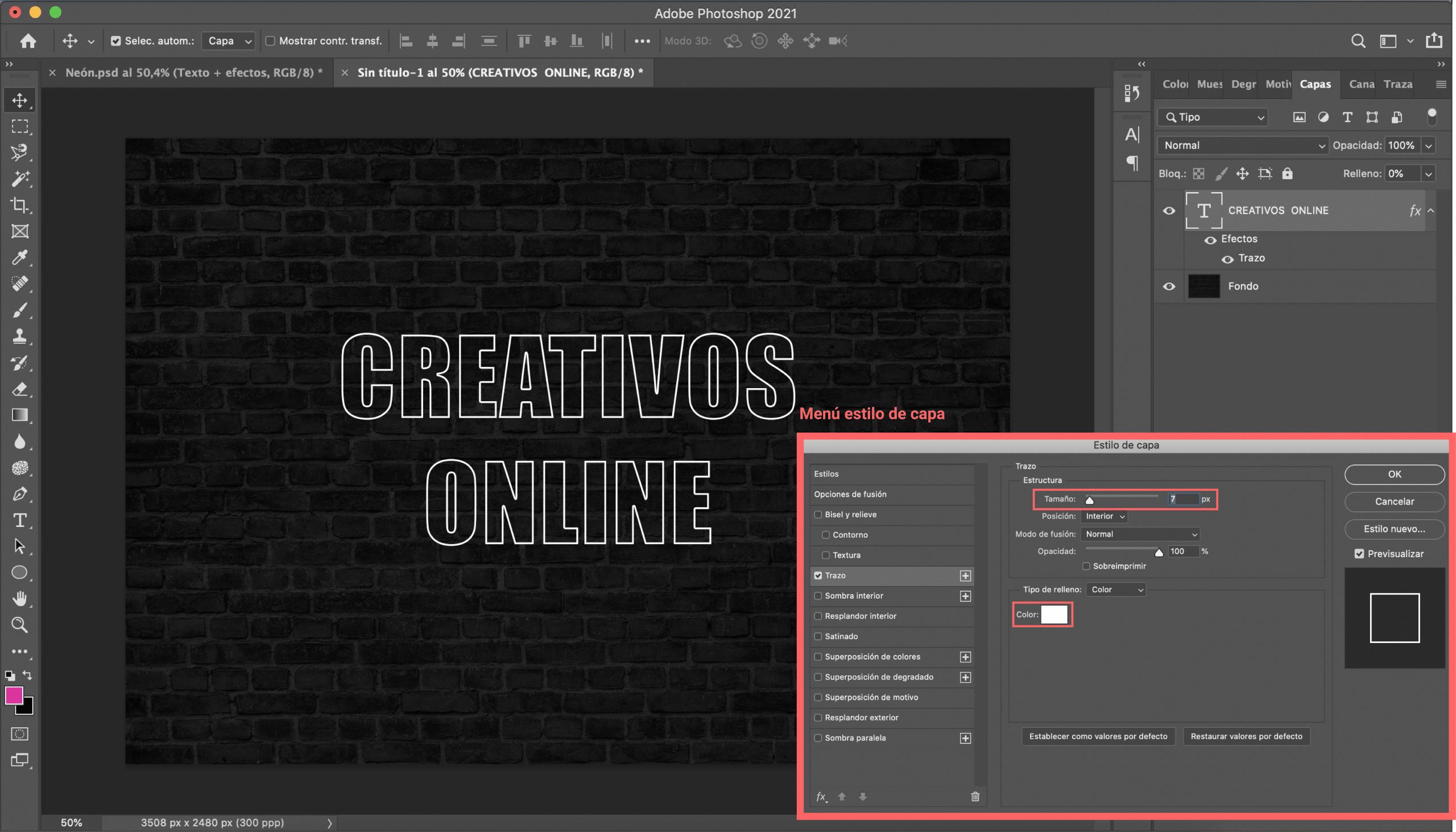 Tutorial Neón Modifica el estilo de la capa texto seleccionando trazo