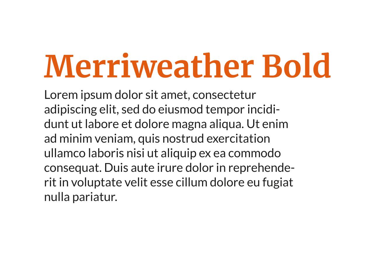 Combinación tipografía moderna Lato Regular con Merriweather Bold