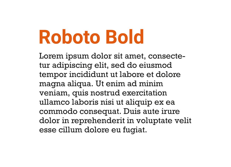 Combinación tipografía moderna Roboto Bold y Rockwell
