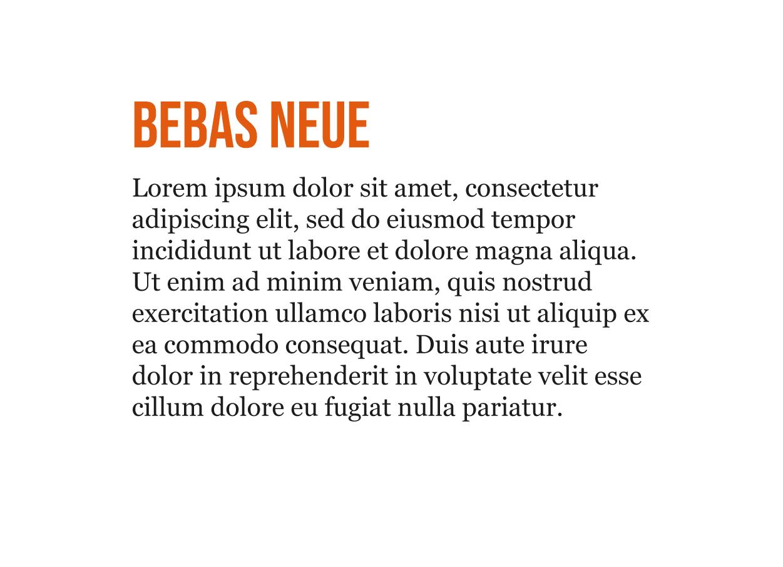 Combinación de tipografía Moderna Bebas Neue y Georgia