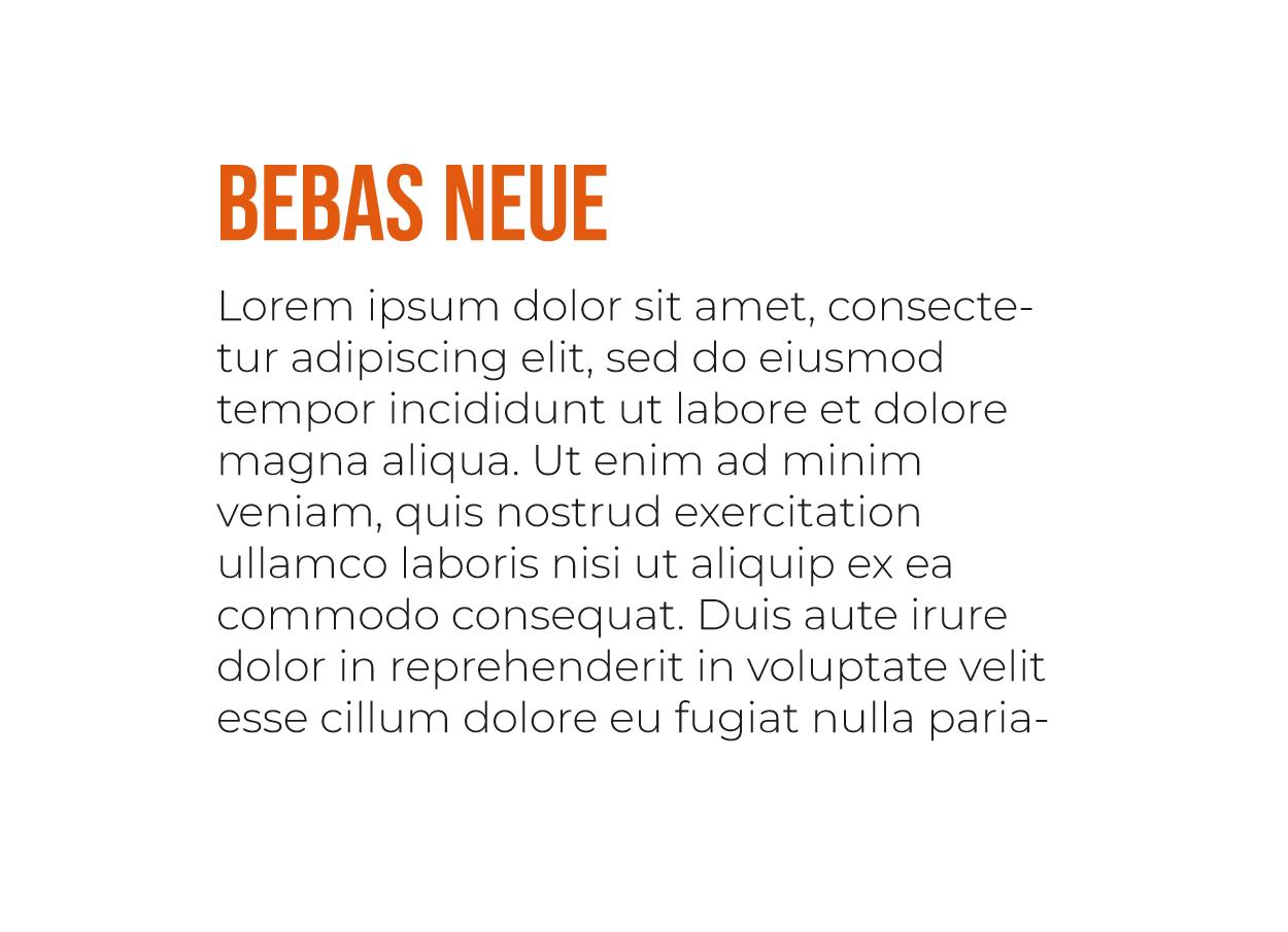 Tipografía Moderna Bebas Neue y Montserrat Light