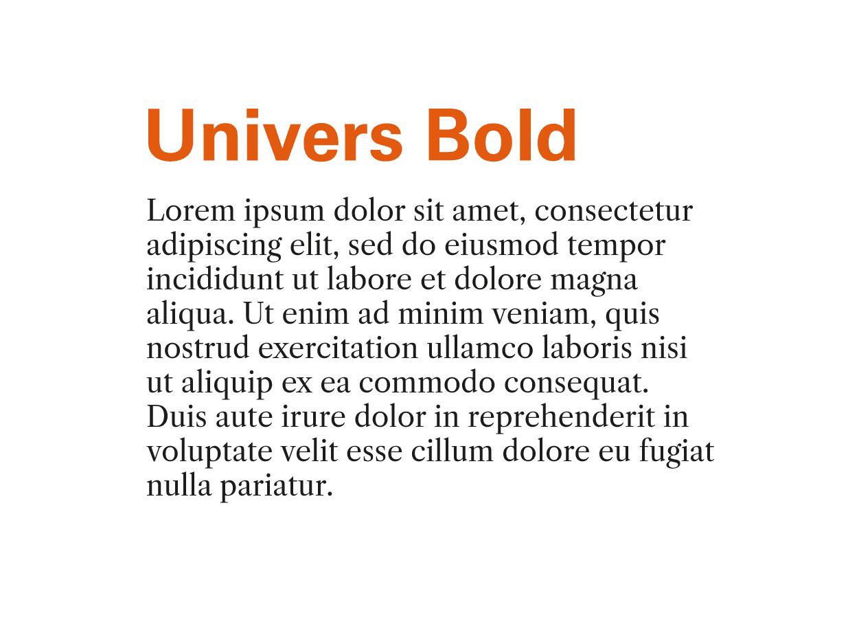 Tipografía Moderna Univers Bod y Libre Caslon