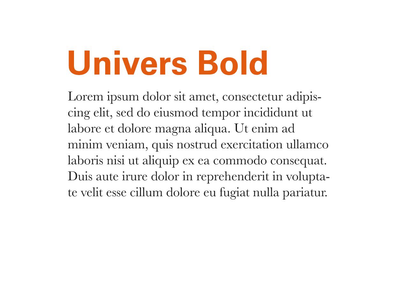 Tipografía Moderna Univers Bold y Baskerville