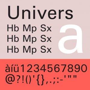 Tipografía Moderna Univers