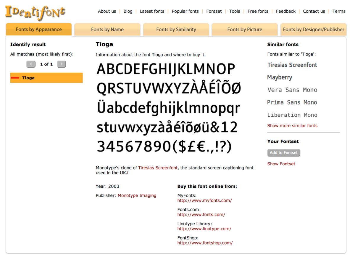 Identificar una tipografía con Identifont