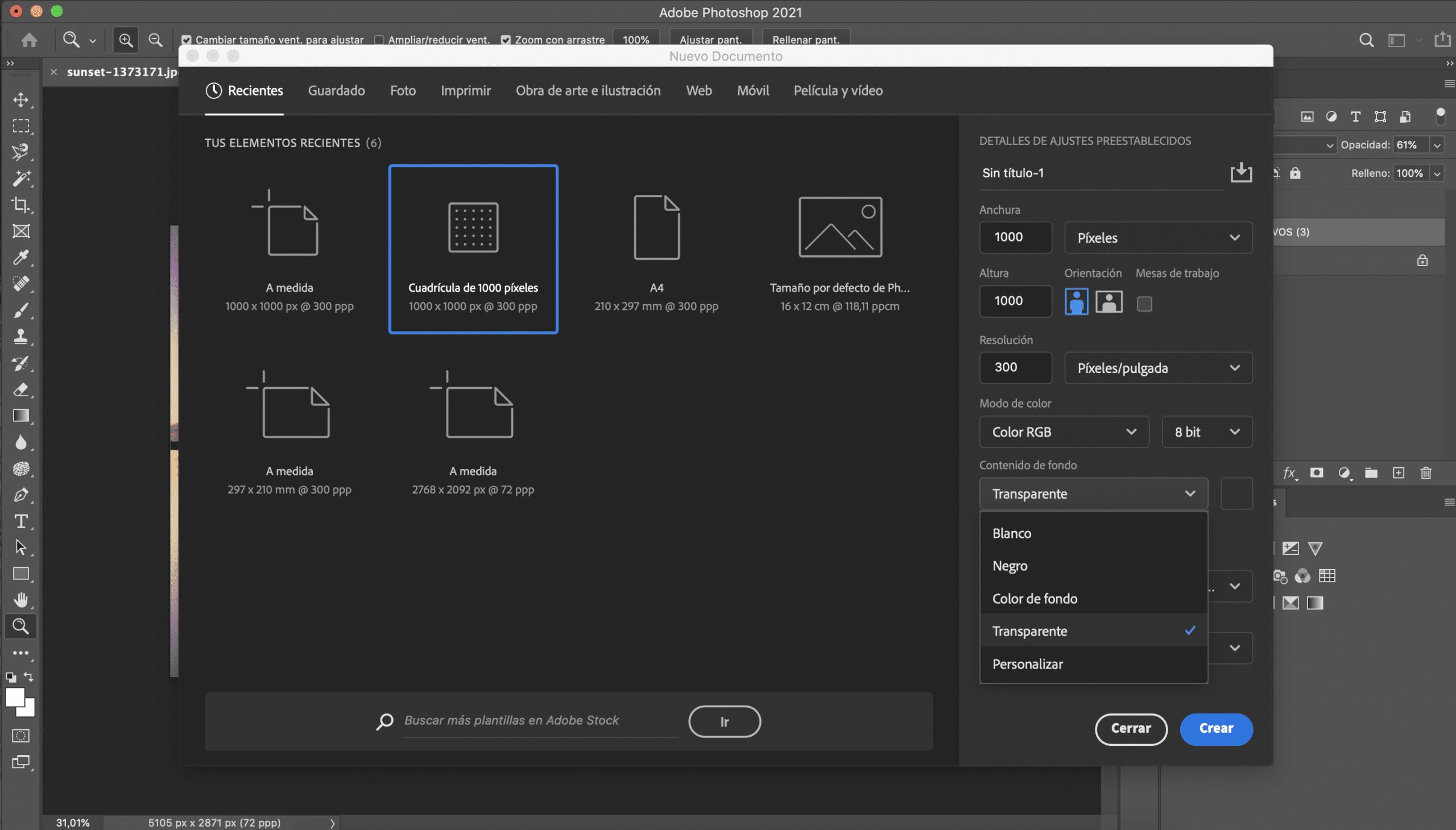 Crear nuevo archivo en Photoshop con fondo transparente