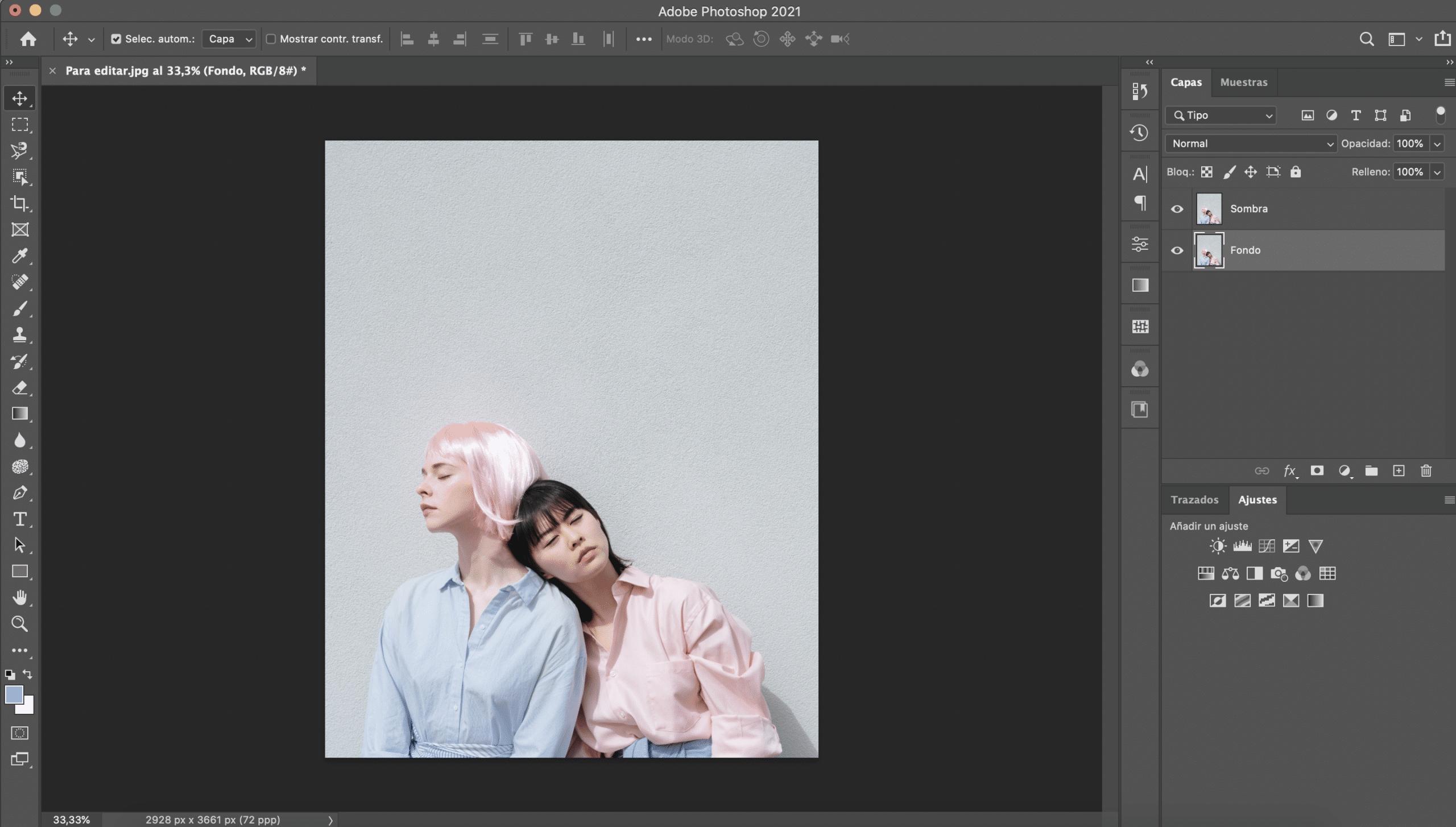 Abrir fotografía en Photoshop y duplicar capa fondo