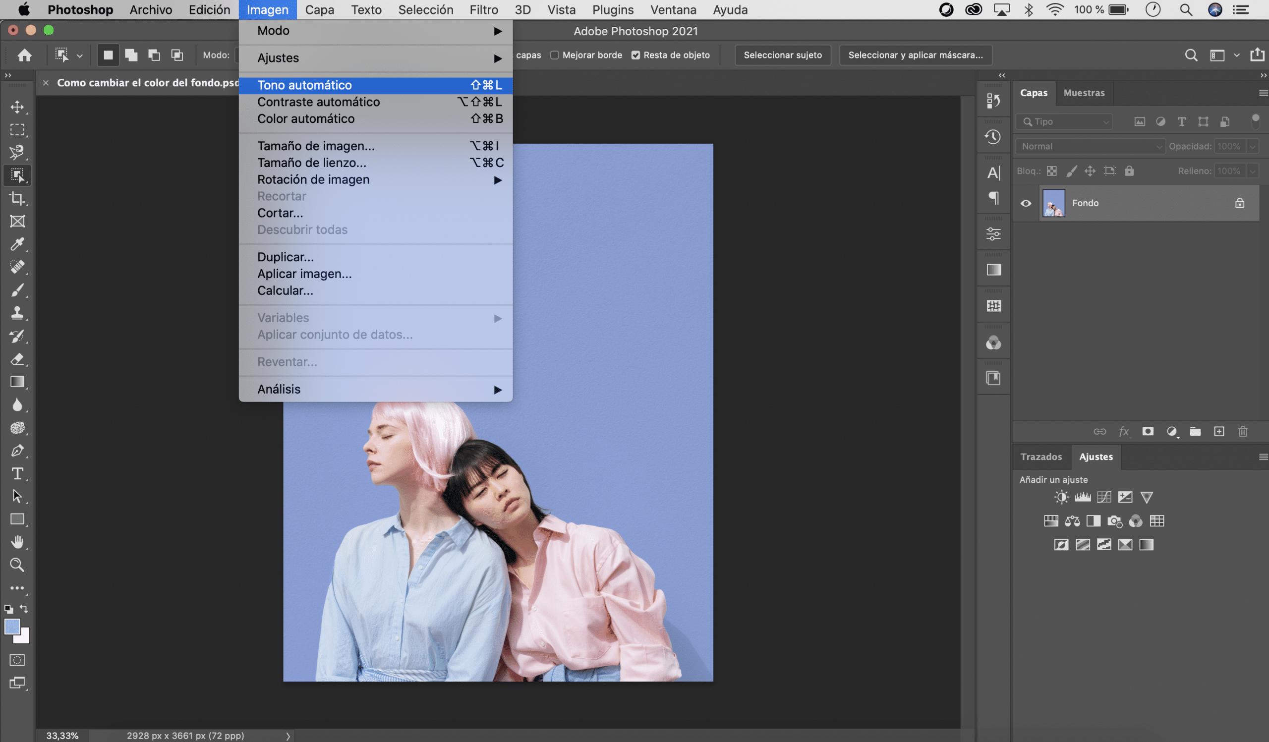 Aplicar tono automático de photoshop