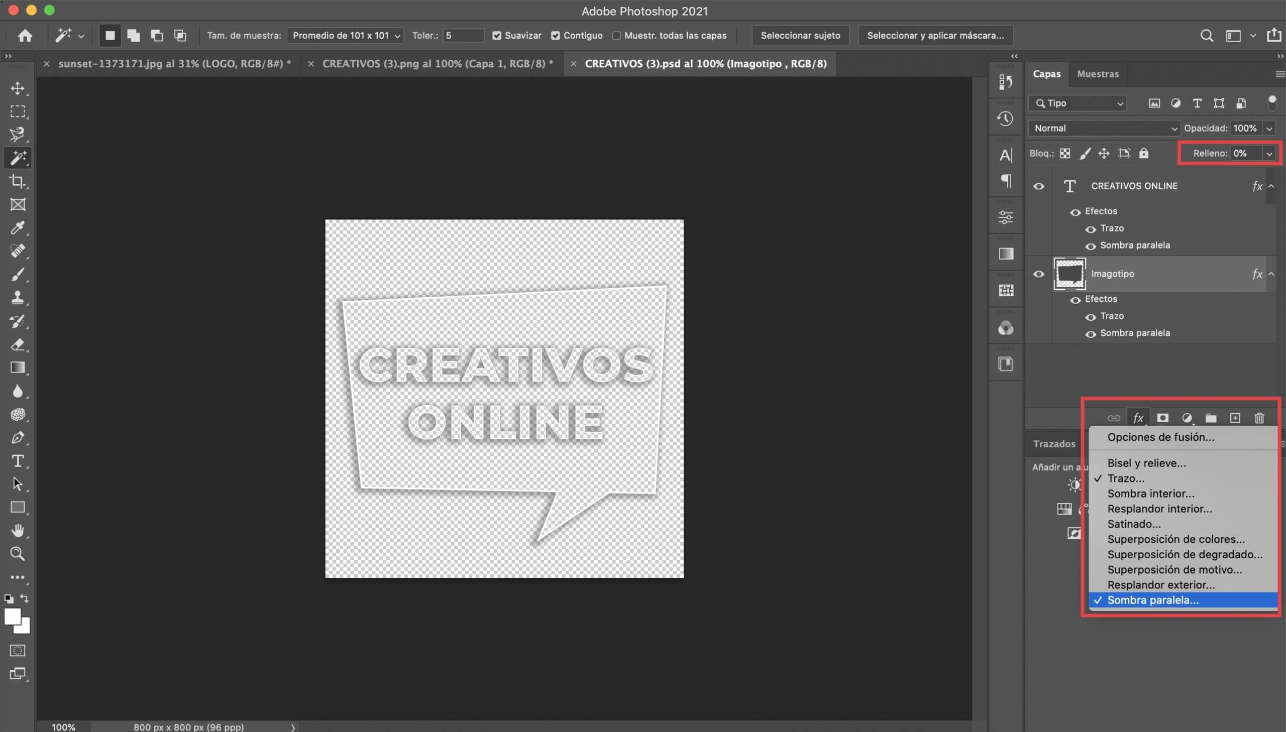 Modificar características de la capa de la ilustración