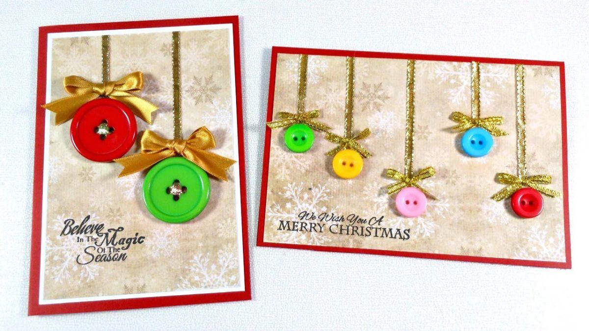 Tarjetas navideñas hechas con botones