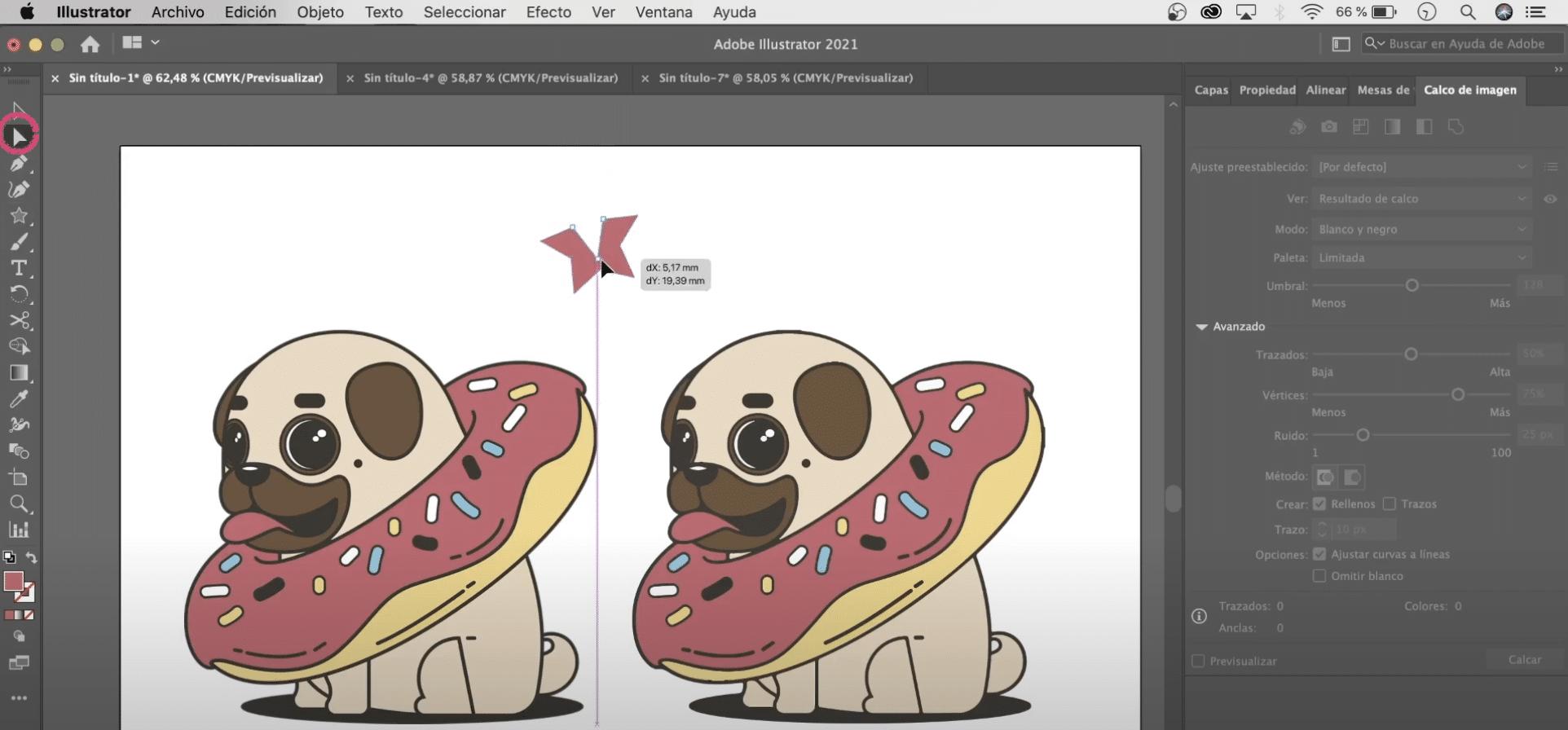 Utiliza la herramienta selección directa para transformar vectores en Illustrator