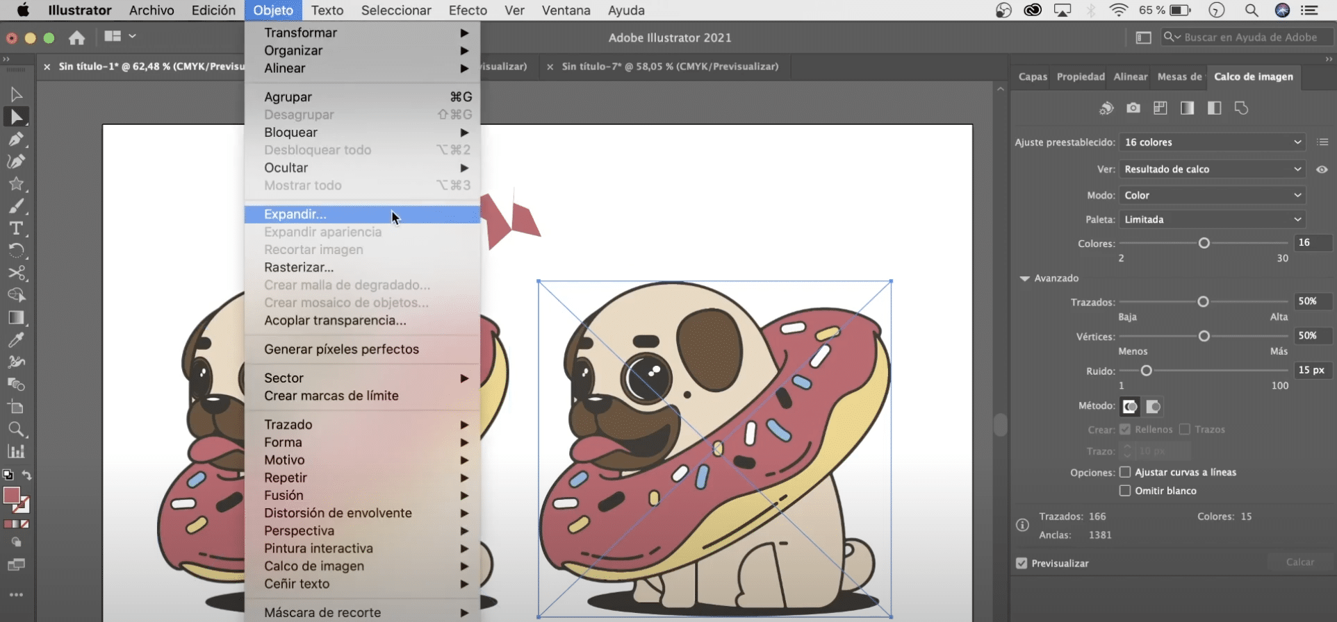Selecciona objeto y expandir para poder editar el vector en Illustrator