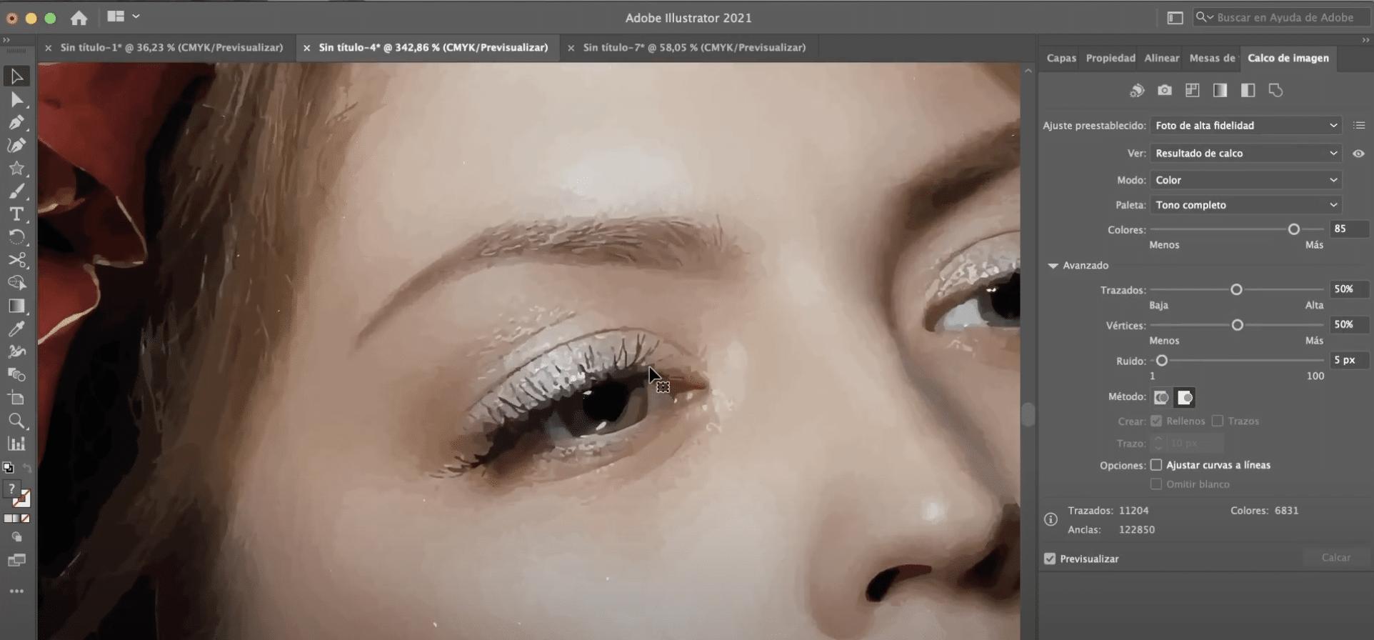 Efecto pintura hiperrealista en Illustrator