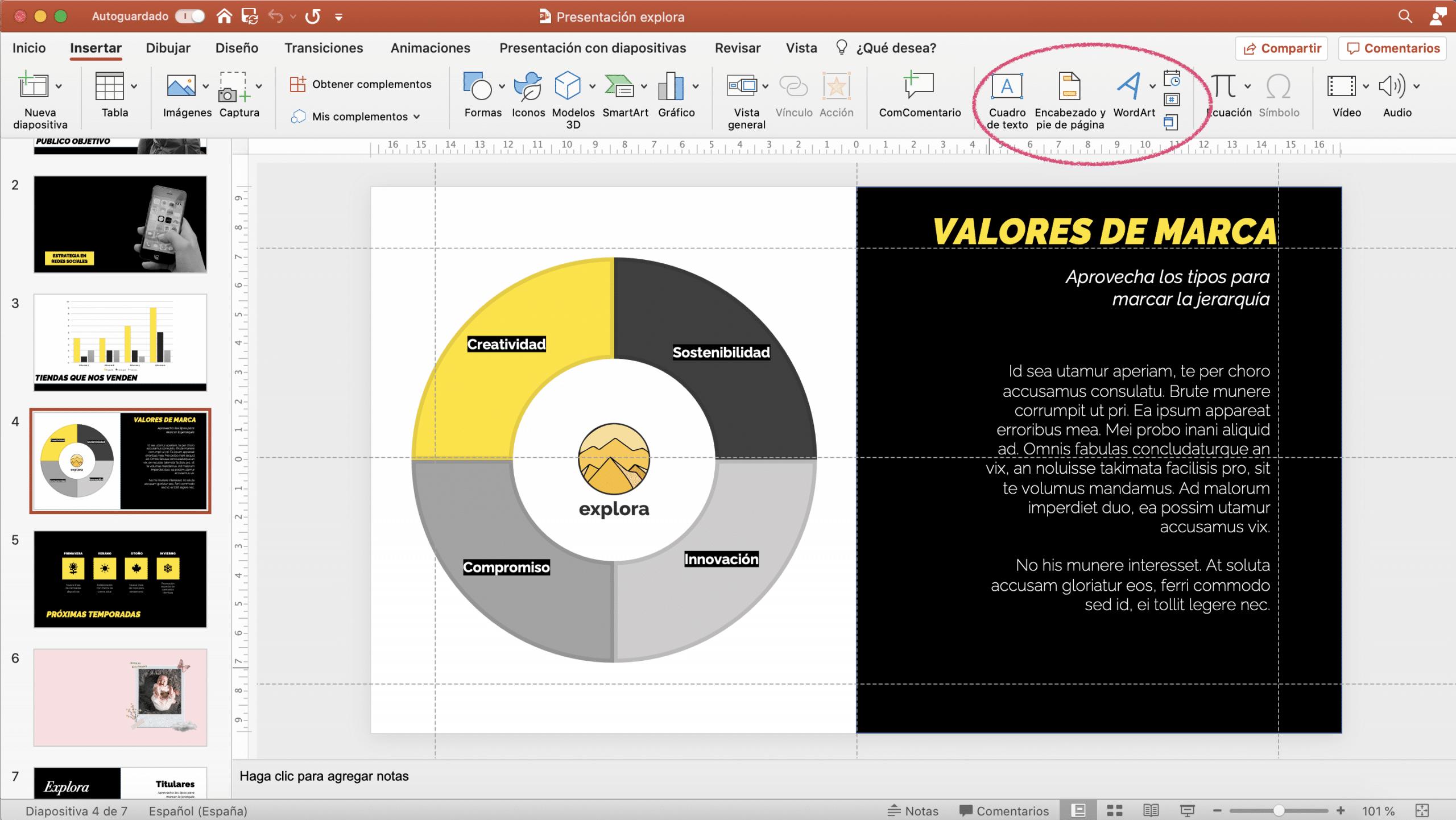 Herramientas de texto en PowerPoint