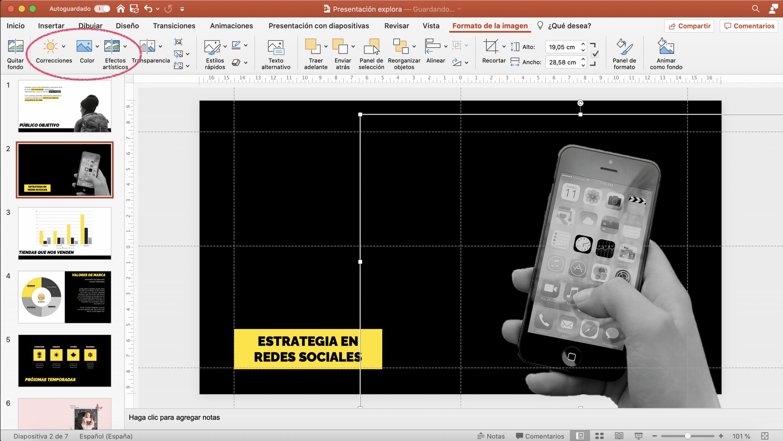Aplicar efectos y ajustes a tus imágenes en un PowerPoint