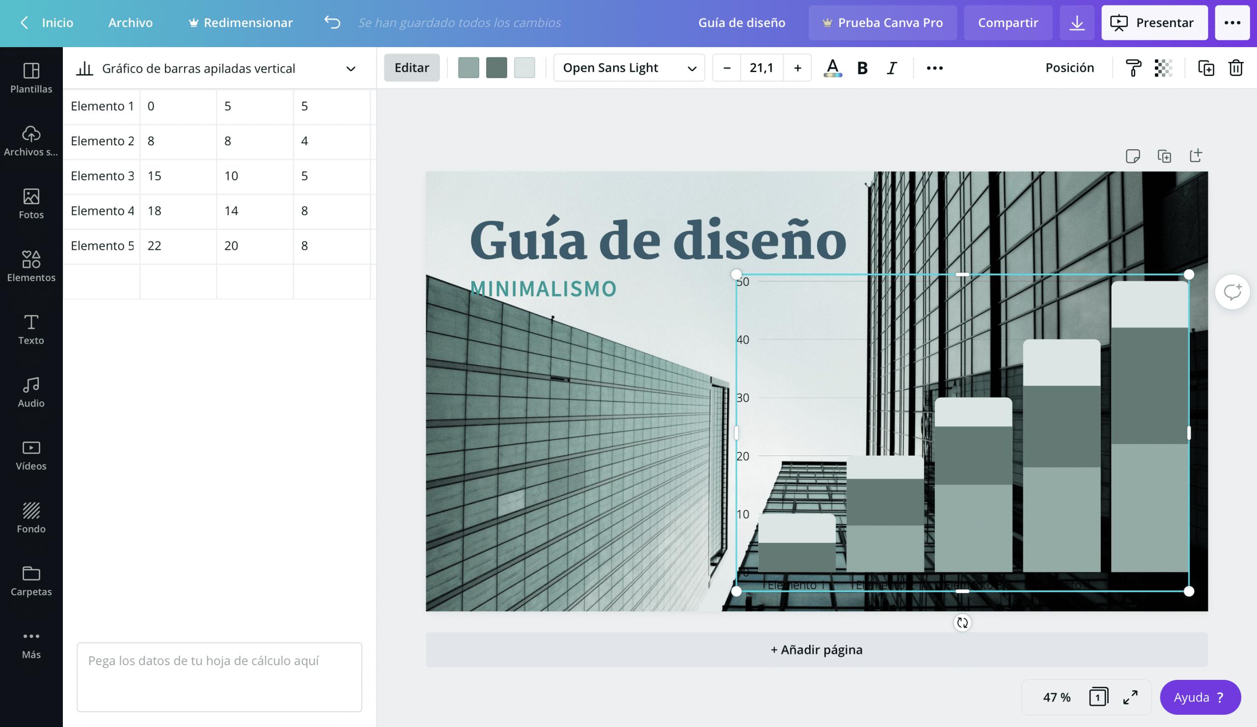 Añadir y editar gráficos en Canva