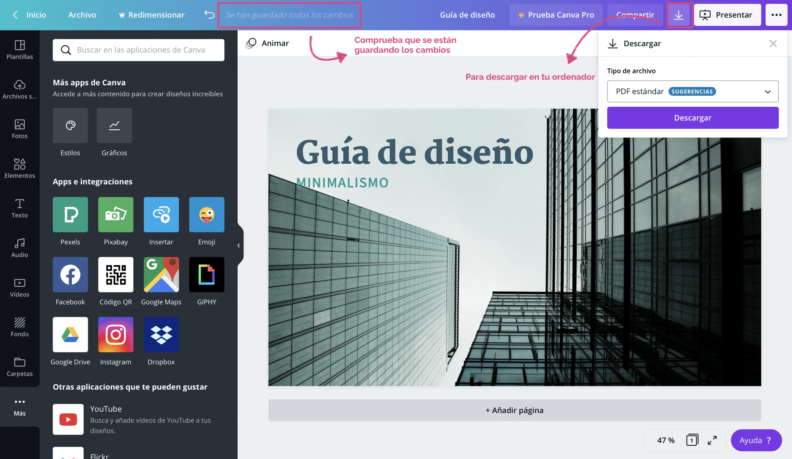 como guardar documentos en Canva