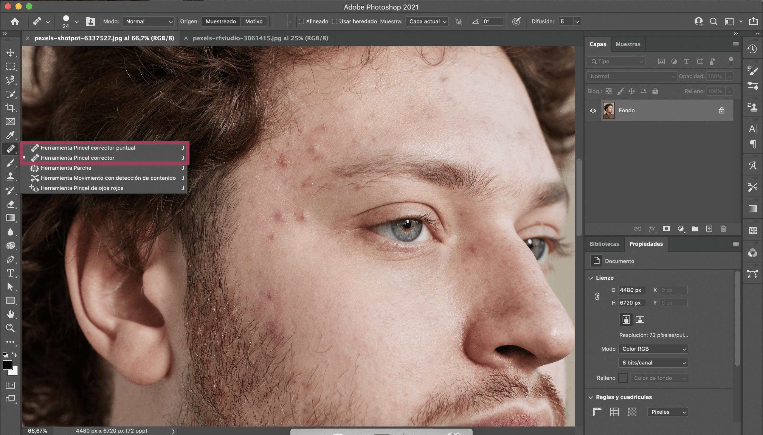 Abrir imagen y localizar herramientas para suavizar piel en photoshop