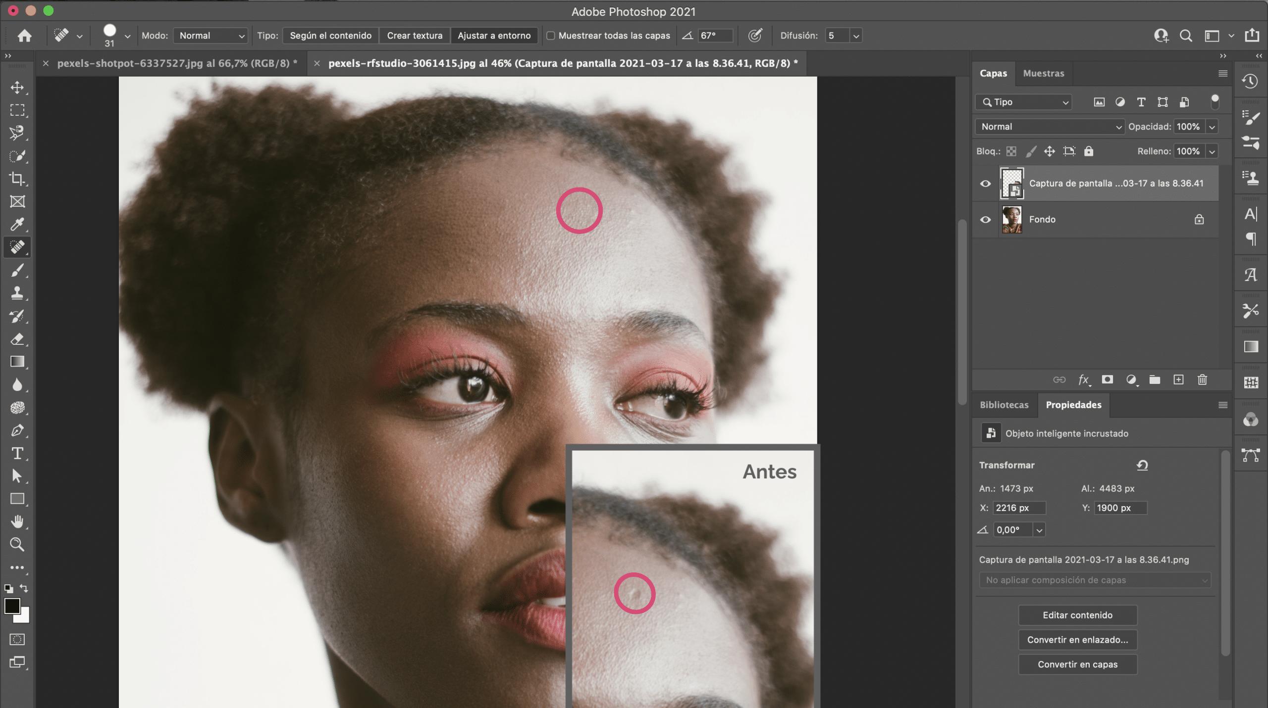 Cómo utilizar la herramienta pincel corrector puntual en Photoshop