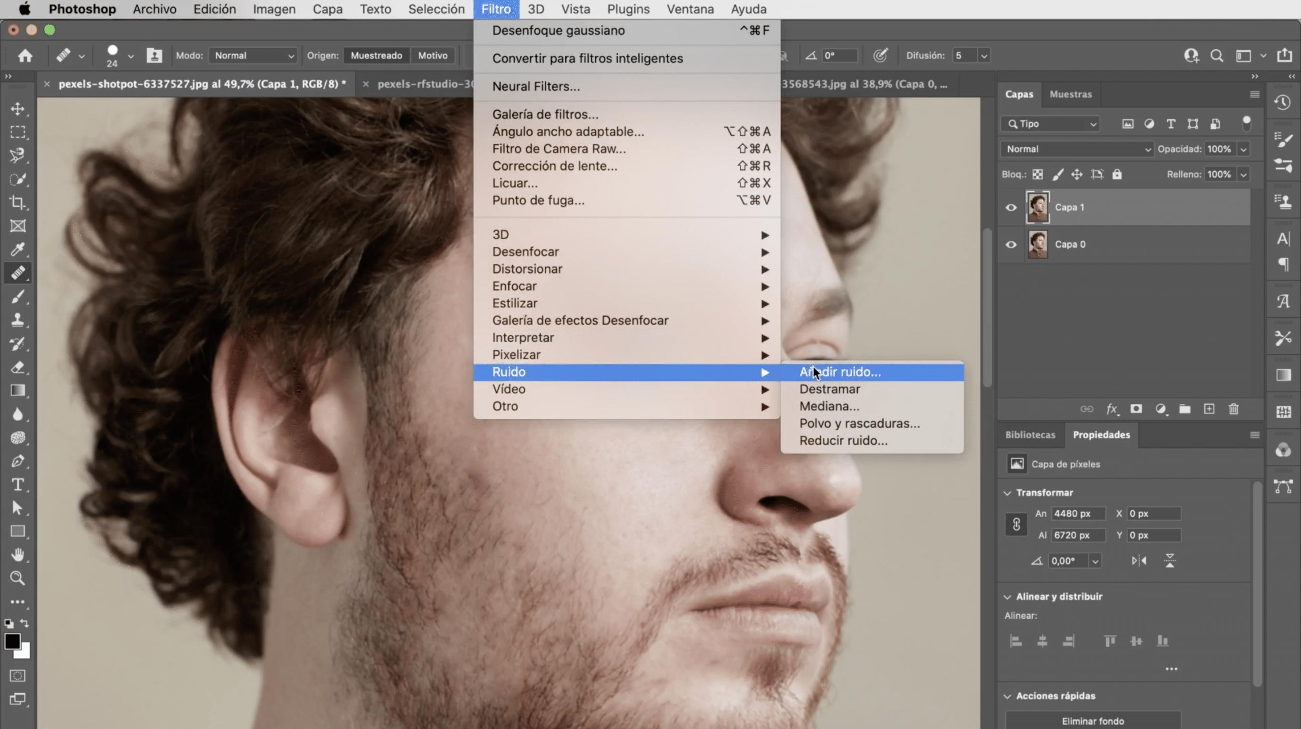 Añadir ruido a la fotografía en Photoshop para suavizar la piel