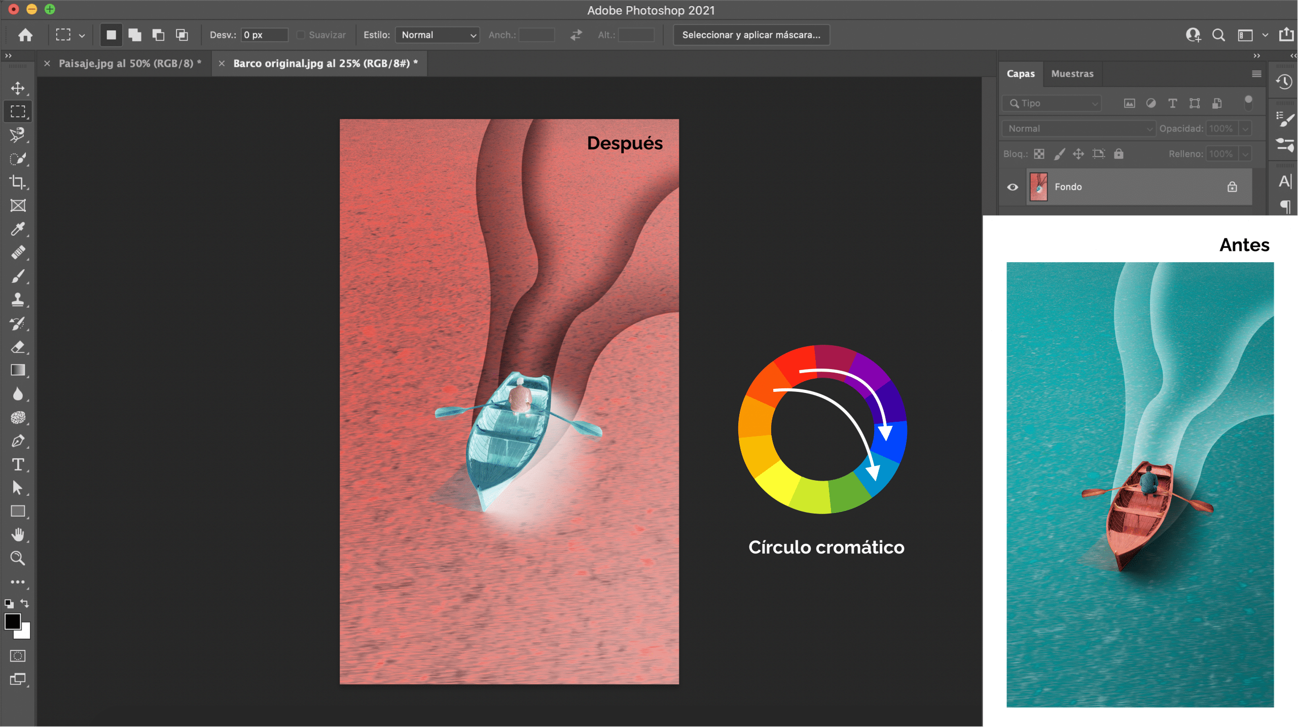 Invertir los colores de una fotografía en Photoshop