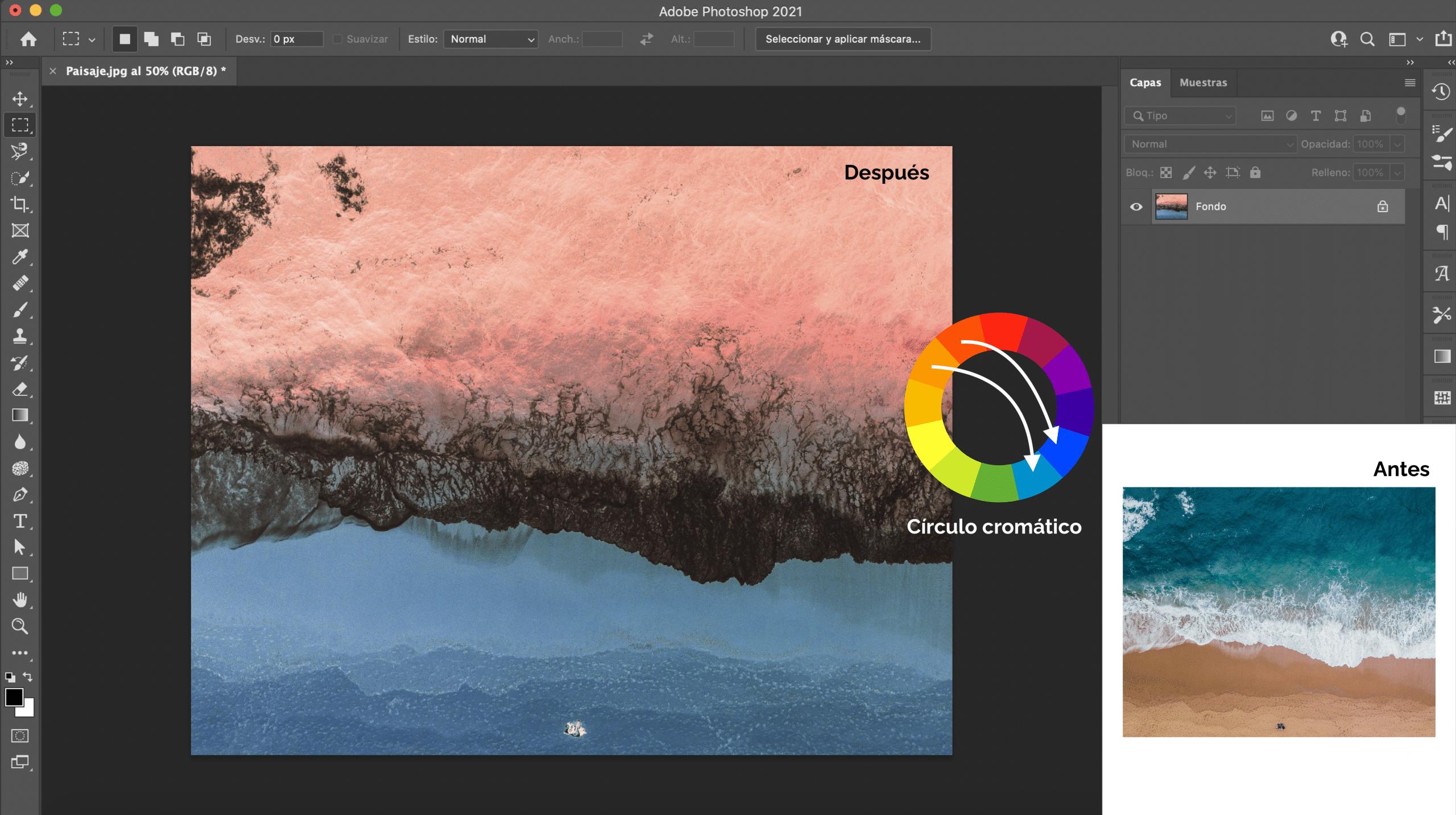 Qué pasa cuando invertimos los colores en Photoshop