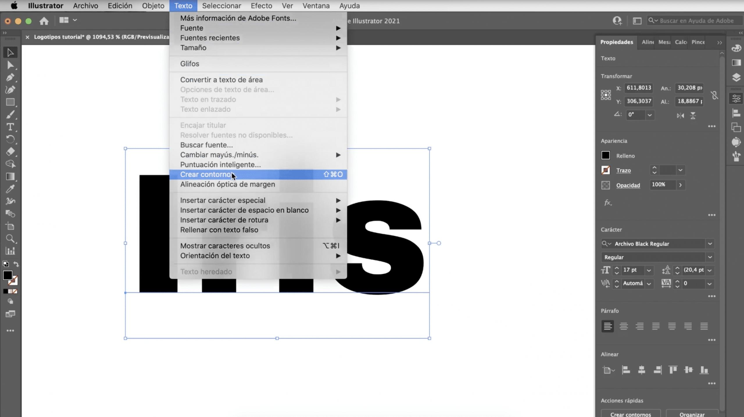 transformar texto en trazo en Illustrator