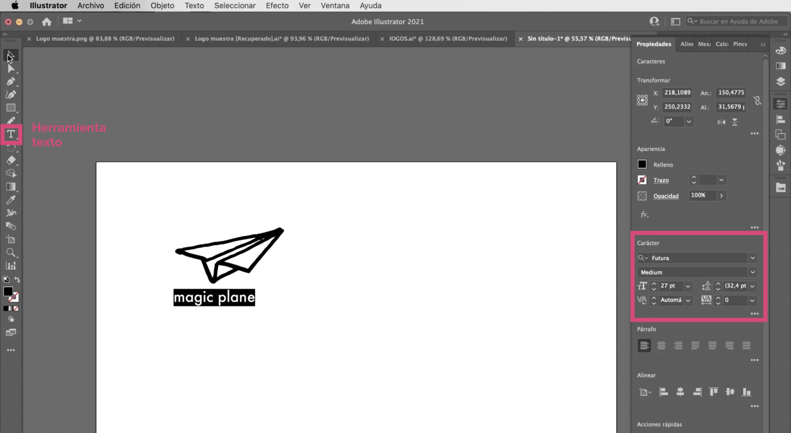 Añadir el nombre de la marca al logotipo