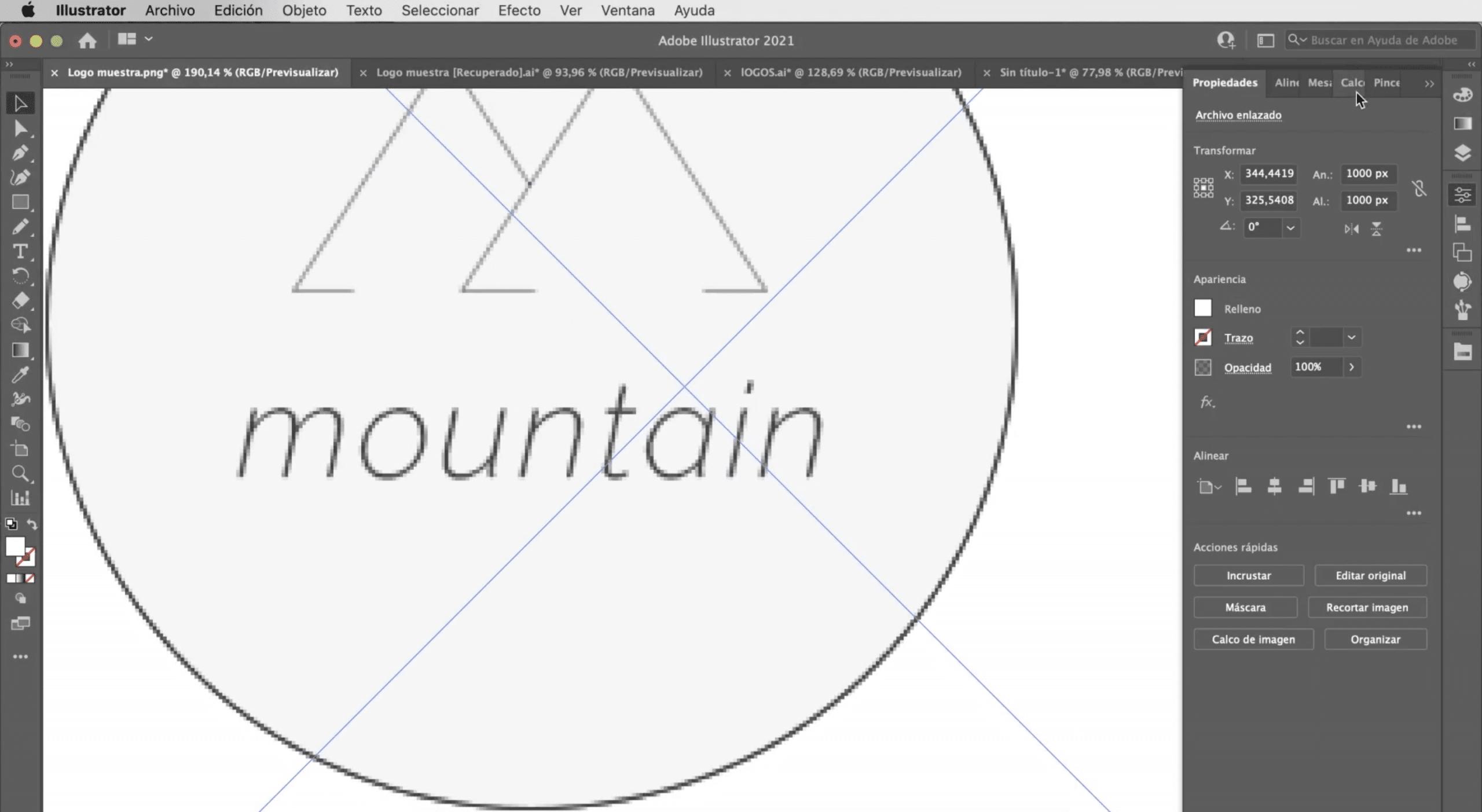 Abre el logotipo pixelado en Illustrator